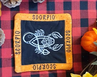 Scorpio Mug Rug, Coffee Cup Coaster, Embroidered Zodiac Design