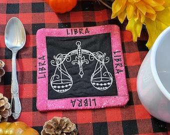 Libra Mug Rug, Coffee Cup Coaster, Embroidered Zodiac Design