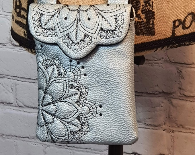 Featured listing image: Cross Body Purse, Phone and Card Bag, Light Blue Pearl Faux Leather, Black Cotton Lining, Magnetic Closure, Mandala Embroidery