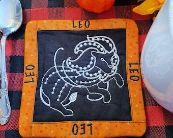 Leo Mug Rug, Coffee Cup Coaster, Embroidered Zodiac Design