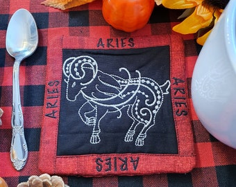 Aries Mug Rug, Coffee Cup Coaster, Embroidered Zodiac Design