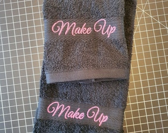 MakeUp Washcloth and Towel Set, Black, Fade Resistant, Cotton Washcloth and Towel - One of Each per Set - Pink Stitching, Embroidered