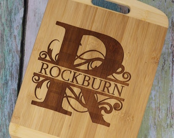 Monogram Bamboo Cutting/Charcuterie Boards, Kitchen, BBQ, Personalized, Custom Options