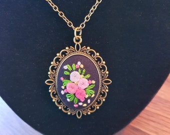 """Hand Embroidered Pendant with Chain, Pink Roses on Black Cotton Cloth, Set in Antique Bronze Bezel with 37"""" Matching Chain"""