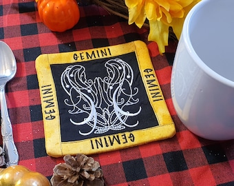 Gemini Mug Rug, Coffee Cup Coaster, Embroidered Zodiac Design