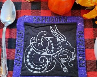 Capricorn Mug Rug, Coffee Cup Coaster, Embroidered Zodiac Design