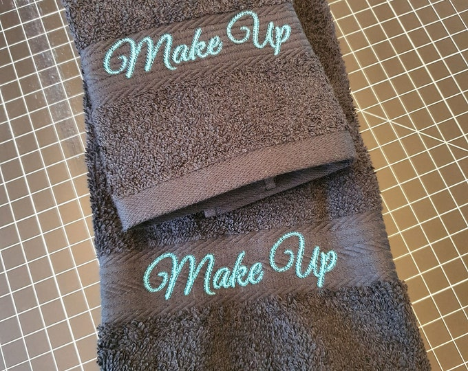 Featured listing image: MakeUp Washcloth and Towel Set, Black, Fade Resistant, Cotton Facecloth and Towel - One of Each per Set - Aqua Stitching, Embroidered