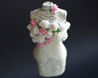 Miniature Paper Mannequin with Tiny Paper Flowers - Paper Sculpture - Paper Art - Miniature Art