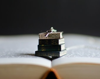Stack of Miniature Books Necklace - Books Pendant
