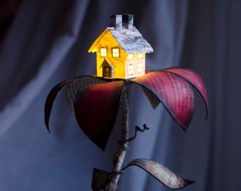 Tiny House in a Flower - Book Arts - The Art of Books