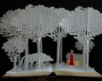 MADE TO ORDER - Red Riding Hood - Book Sculpture - Book Art - Altered Book
