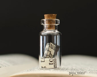 Tiny Paper Books in a bottle - Vial with miniature books