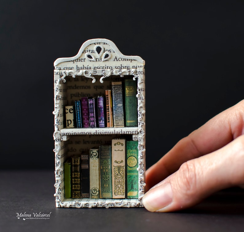 Paper Art  Miniature Library with tiny books  Diorama image 0