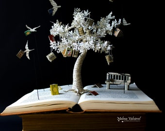 The Tree of Knowledge - Book Sculpture - Book Art - Altered Book - Made To Order