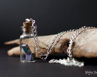 Tiny Books in a bottle necklace - Vial Pendant