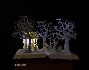 Three Witches - Halloween - Book Sculpture - Altered Book - Book Art