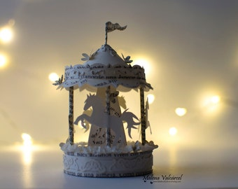 Miniature Carousel - Merry Go Round - Paper Art - Miniature - Paper Miniature