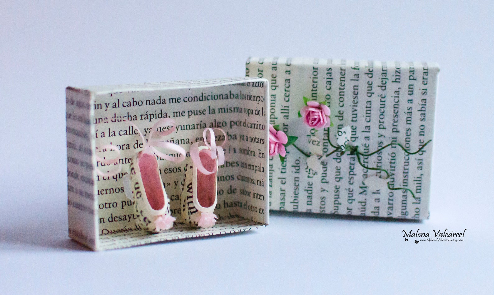 ballerina tiny paper shoes - matchbox art - diorama - ballet shoes - miniature paper shoes