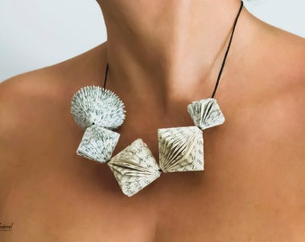 Book Art Necklace - Tiny Book Sculptures around your neck - Paper Jewelry