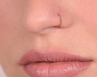 Thin Small Nose Hoop Piercing Ring Tight 20g Nose Ring Hoop Etsy