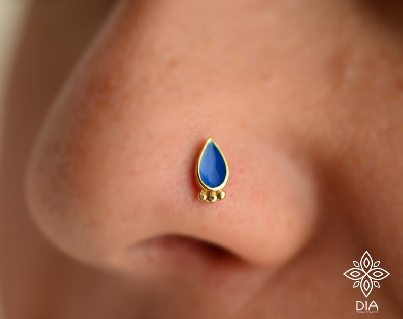 Solid 14k Yellow Gold Nostril Pin Gold Drop Nose Stud Ring Body Jewelry Gold Nose Stud Rose gold Nose Ring Indian Nose Stud Nose Screw