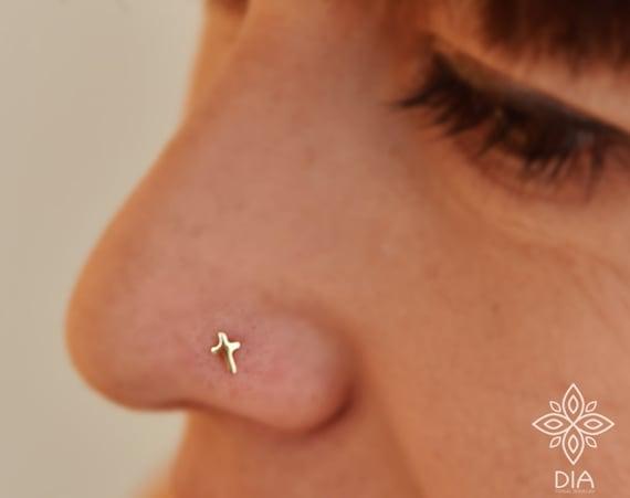 14k Gold Nose Stud Cross Nose Stud Tragus Piercing Cartilage Etsy