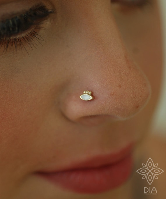 14k Gold Nose Stud Solid Gold Nose Ring 14k Gold Nose Studs Etsy