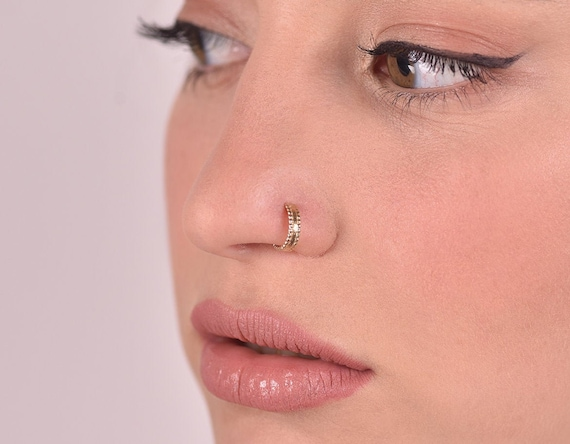 Gold Nose Ring 14k Gold Nose Ring Stud Indian Gypsy Nose Ring Etsy