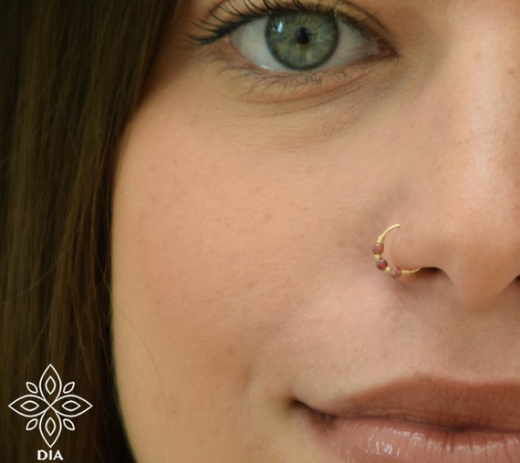 Real Opal Septum Nose Nipple Ring Hoop 14k Solid Gold or Silver Cabochon Front