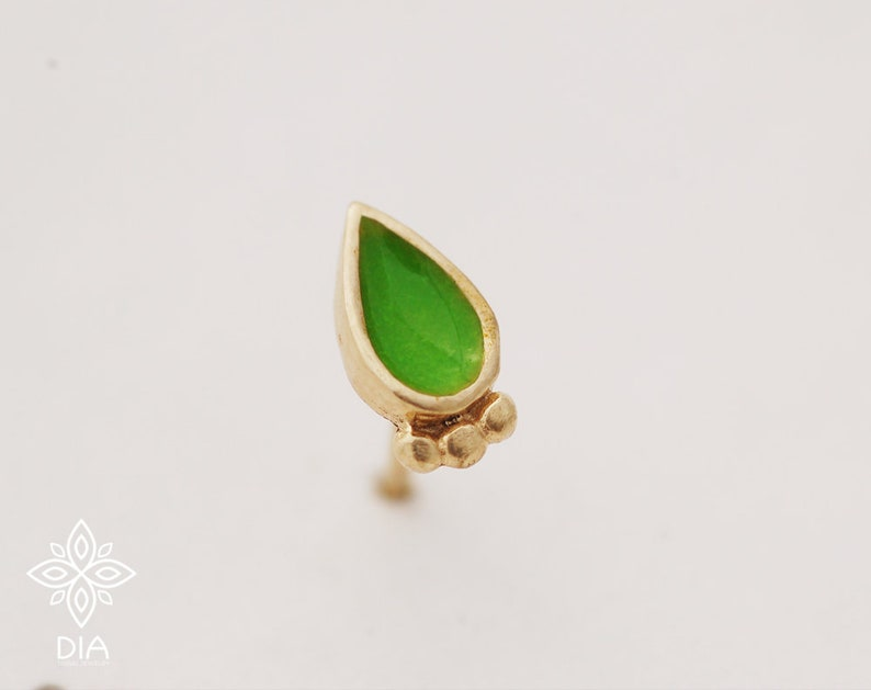 Gold stud earrings 14k post earrings Drop gold studs 14k earring Gold nose stud Indian style stud earring Tribal nose stud