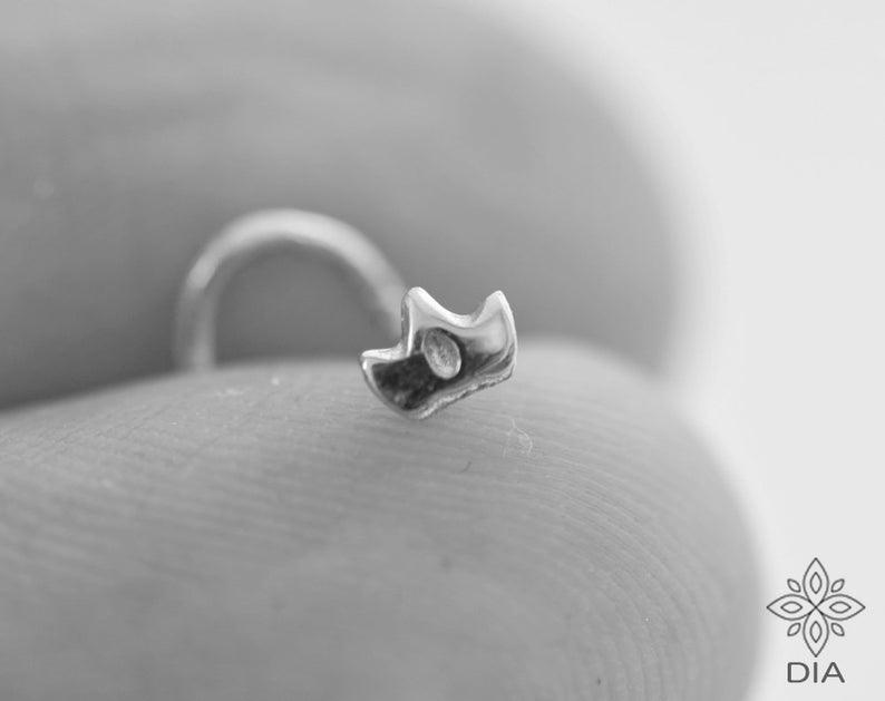Silver Nose Stud Crown Nose Stud Cartilage stud Nose Jewelry Minimal Stud earrings Silver Screw Tiny Piercing Tragus Pin Nostril Pin