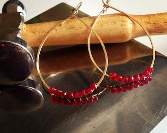 Hoop Earrings, Hoops, Gold, silver teardrop hoops with faceted ruby beads