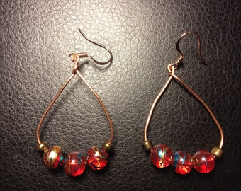 Beaded hoop earings - Up-cycled copper wire