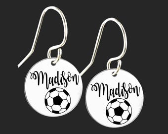 Personalized Soccer Earrings   Soccer Gift   Daughter Gift   Gift Ideas & Soccer gift ideas   Etsy