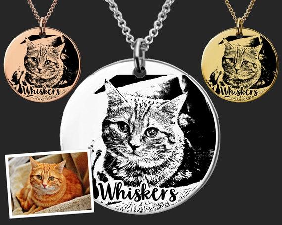 ceramic remembrance jewellery custom pet portrait art painting cat dog unique funeral gift memorial animal lover Pet memorial necklace