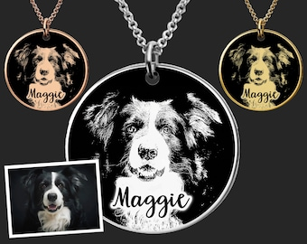 Personalized Dog Portrait Necklace |  Border Collie Dog Necklace |  Border Collie Jewelry | Dog Memorial Gift | Birthday Gifts For Her