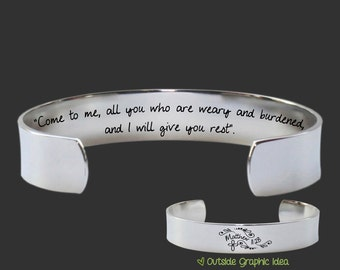 Inspirational   Christian Gifts   Faith Gifts   Gift for a Friend   Come to Me   Matthew 11:28   Christian Jewelry   Birthday Gifts For Her