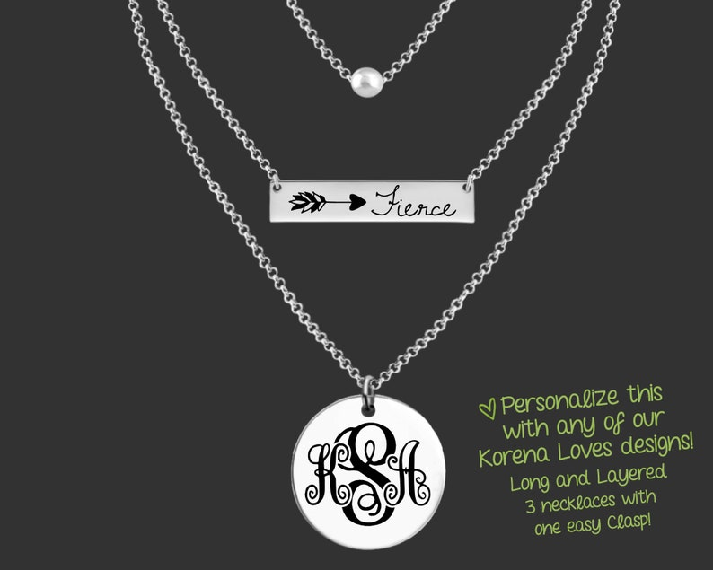 Custom Personalized Jewelry Your Message Here Long and Layered Layered Necklace Personalized Gifts Design Your Own Gift Ideas