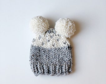 1ccbcfd2ff6d2d Ready to Ship - Newborn Baby Cupcake Slouchy Knit Hat with Two Pom Poms in  Gray