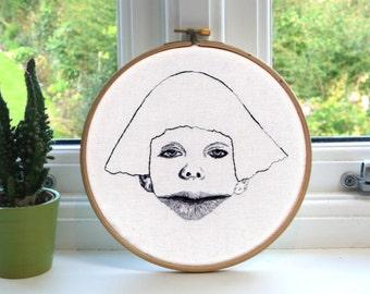 "Pretty Ugly Big Lips // Original Artwork // Hand Embroidery // 7"" Hoop // Illustration"