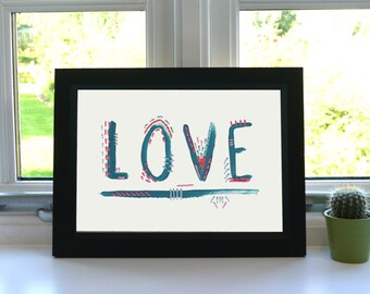 LOVE Print - Acrylic and Embroidery - Print - Illustration - Typography - Wall Art - Unframed