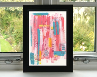 Pink & Teal Abstract Print - Abstract Art Print - Acrylic and Embroidery - Print - Illustration - Wall Art - Unframed
