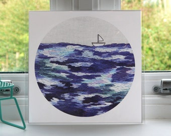 Lost at Sea Print - Sea Print - Boat Print - Embroidery - Print - Illustration - Wall Art - Unframed