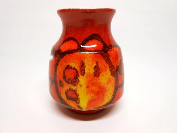 Poole Pottery Delphis Vase Red Orange Yellow Signed Valerie Etsy