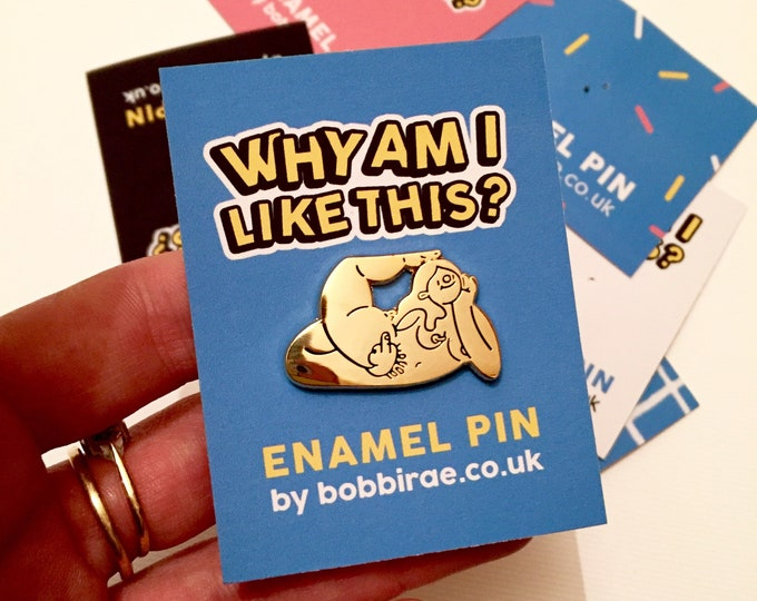 Featured listing image: Why am I like this? Gold Enamel Pin Badge