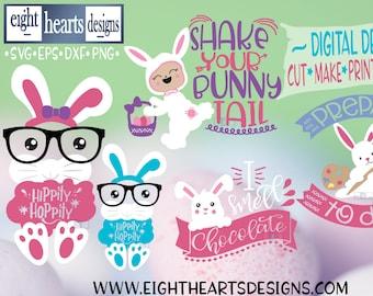Easter Kids Bunny & Eggs - Easter Bundle 5 Designs.  Cut, Create, Print, Make, Sublimate Designs - SVG, PNG, DXF, EpS