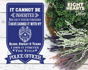 Police Officer -  Blood, Sweat & Tears Subway Art - svg|png|eps|dxf| Cutting, Printing, Crafting, Sublimating, Iron on Transfers - EMS
