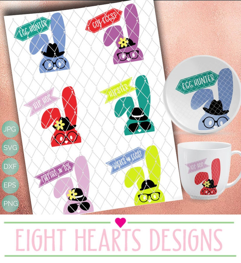 Hipster Bunny Collection  6 Bunnies Easter SVG Cut able image 0