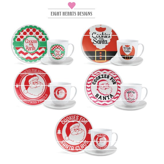 Svg Milk Cookies For Santa Collection Cookie Plate And Mock Etsy