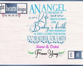 Baby Memorial Angel SVG Cutting Design file wood signs framed canvas PNG eps DXF svg file types